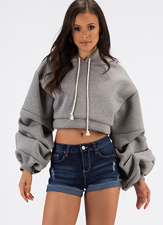 Big Deal Puffy Cropped Scuba Hoodie
