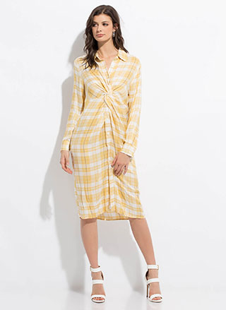 Good To Be Plaid Twisted Shirt Dress