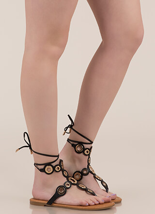 Well-Rounded Cut-Out Lace-Up Sandals