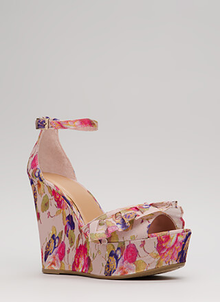 My Choice Ruffled Floral Print Wedges