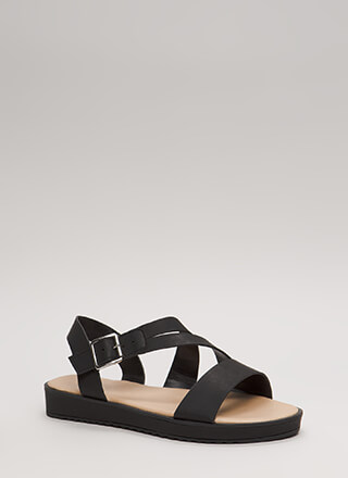 New Bestie Strappy Faux Leather Sandals