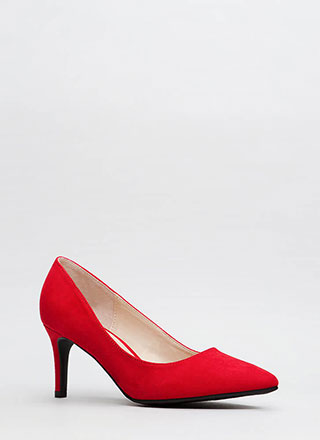 No Shortage Pointy Faux Suede Pumps