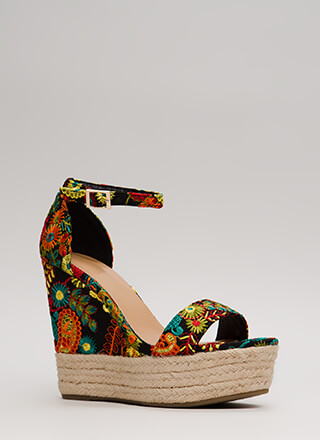 Real Growth Floral Embroidered Wedges