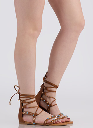 On The Edge Studded Lace-Up Sandals