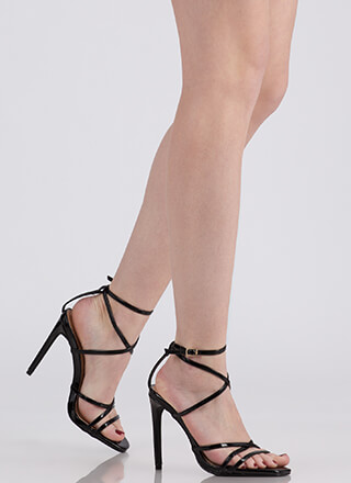 Into Thin Air Strappy Caged Heels