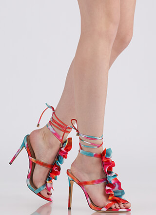 Ruffle Party Lace-Up Watercolor Heels