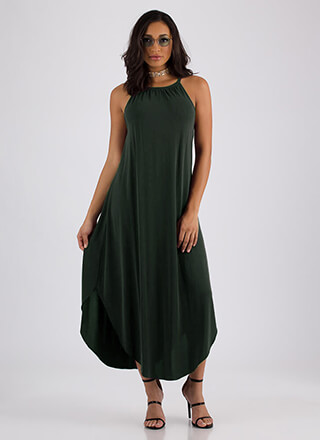 Vacation Mode Flowy Round Hem Maxi
