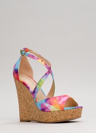 Cork It Strappy Rainbow Wedges