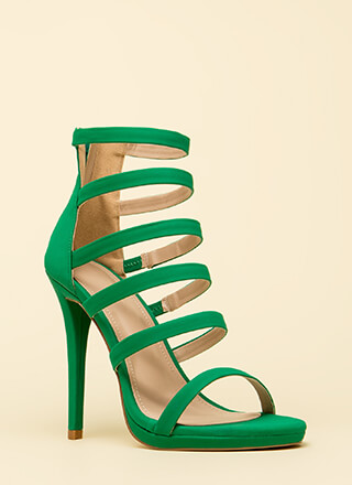 Up The Ladder Strappy Caged Heels