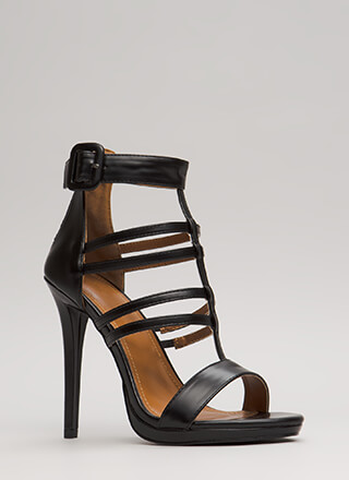 Inside The Cage Strappy Cut-Out Heels