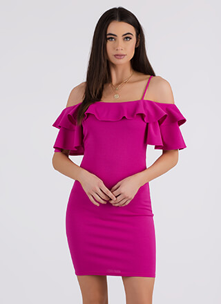 Frill It Up Ruffled Cold-Shoulder Dress