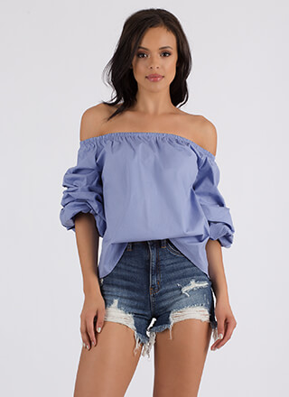 How Sweet Off-Shoulder Puffy Sleeve Top