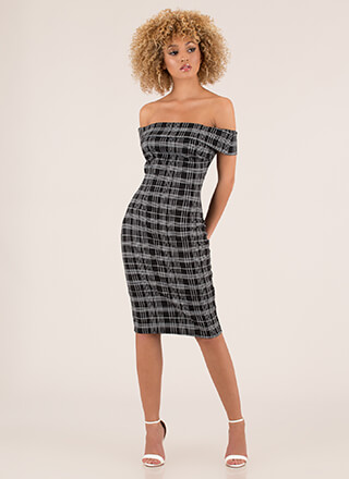 Intersection Plaid Off-Shoulder Dress