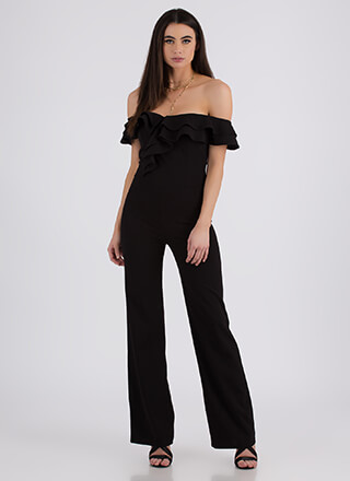 Ruffled Feathers Off-Shoulder Jumpsuit