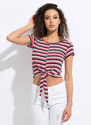 Knot Surprised Striped Tie-Front Top