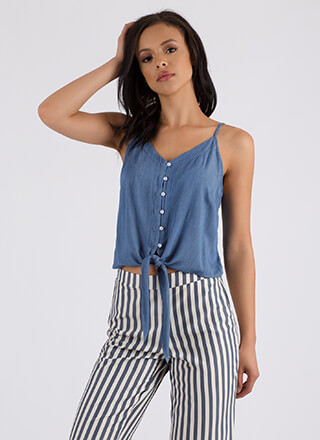 Life Of Leisure Knotted Button-Up Tank