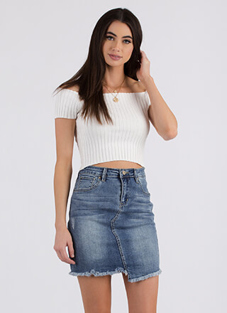 Uneven Better Fringed Denim Skirt