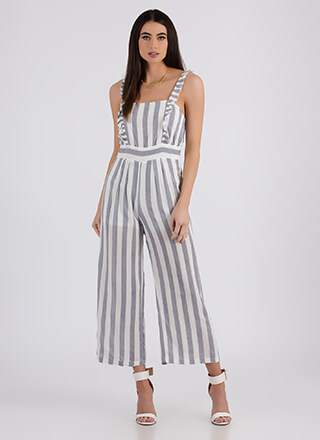 Lady Of Leisure Striped Ruffled Jumpsuit