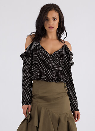 Dot The Eyes Ruffled Cold-Shoulder Top