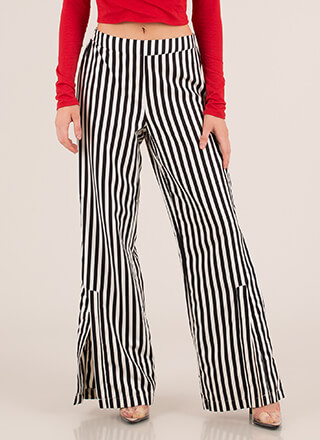 Stand And Deliver Striped Slit Pants