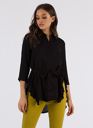 Ride My Shirttails Ruffled Tied Blouse