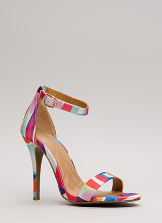 Fresh Prints Ankle Strap Stiletto Heels