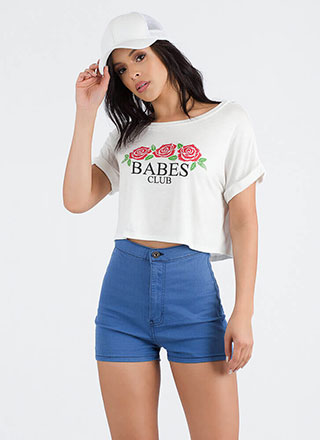 Babes Club Rose Graphic Crop Top