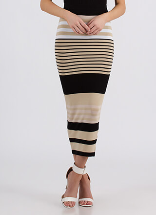 Win-Win Striped Knit Maxi Skirt