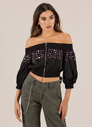 Jewel Quest Off-Shoulder Crop Top