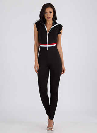 Race You Striped Ruffled Zip-Up Jumpsuit