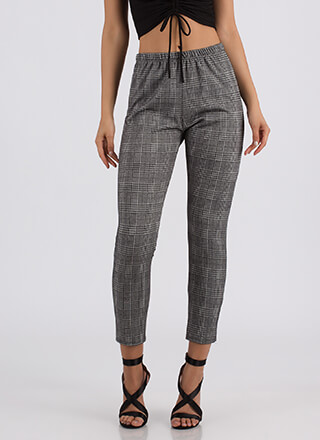 My Office Houndstooth Plaid Skinny Pants