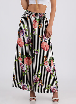 Floral Flourish Striped Palazzo Pants