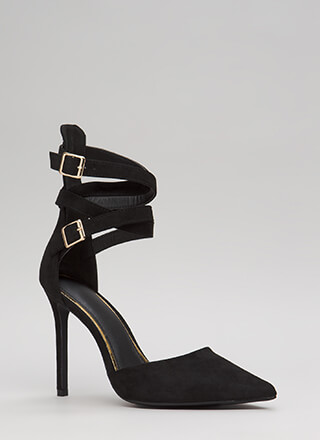 The Wrap-Up Pointy Faux Suede Heels