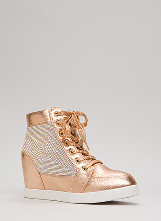 Sparkling Jewel Lace-Up Wedge Sneakers