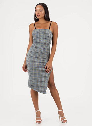 Perfect In Plaid Slit Midi Dress