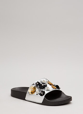 Growth Sequin Flower Slide Sandals