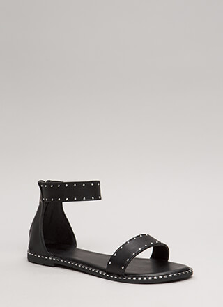 Minimalist Studded Faux Leather Sandals
