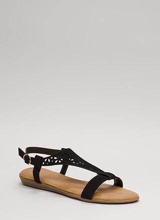 Flora Laser-Cut Faux Nubuck Sandals