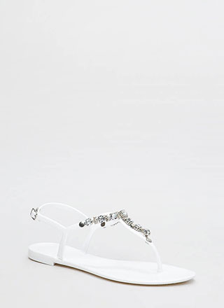 Go Glam Jeweled Jelly T-Strap Sandals