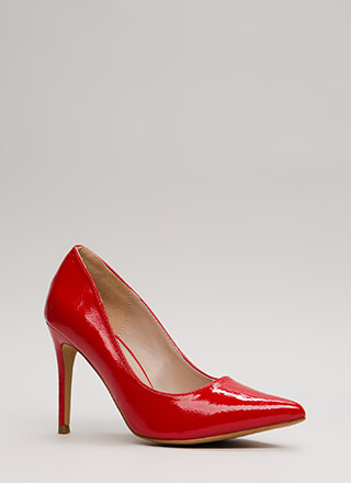 A-Ha Moment Pointy Faux Patent Pumps