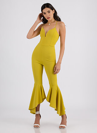 Dance Party Plunging Flared Jumpsuit