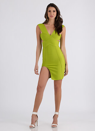 Don't Cross Me Slit Bandage Dress