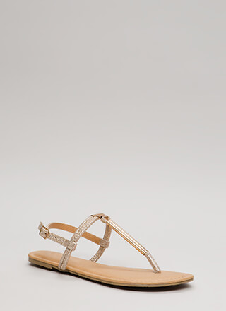 Pipe Dreams Glittery T-Strap Sandals