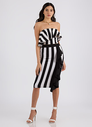 Night Out Striped Two-Piece Ruffle Dress