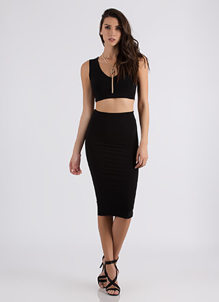 Two Become One Crop Top And Skirt Set