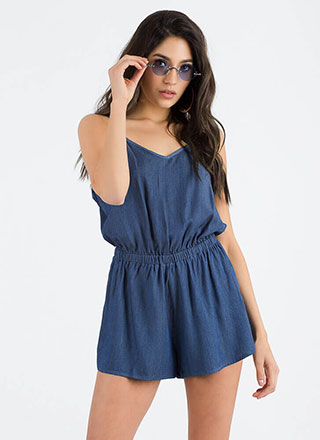 One For The Money Chambray Romper