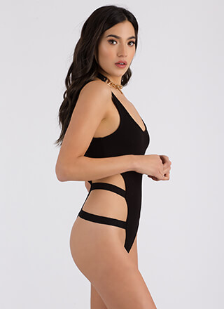 Side To Side Cut-Out Thong Bodysuit