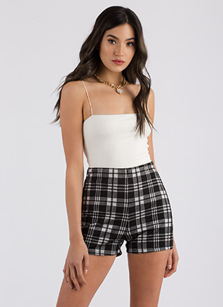 Plaid Vibes Only High-Waisted Shorts