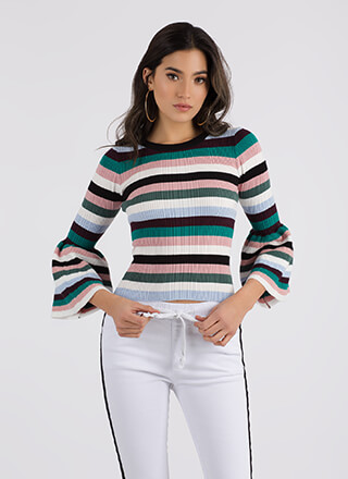 For The Bell Of It Striped Sweater Top