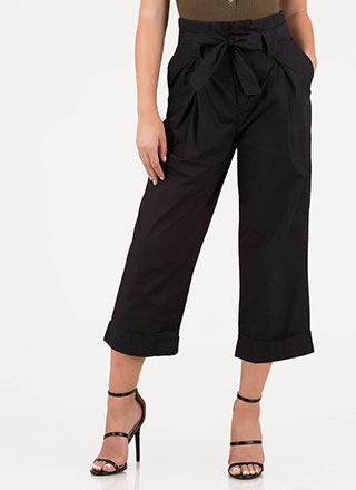 Smarty Pants Cropped Wide-leg Trousers